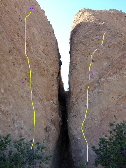 The V Wall, split by Corvus Crack. photo and graphics courtesy of Spider Savage.