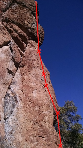 Route starts on right side of arete and trends left to bolt 3, then straight up from there