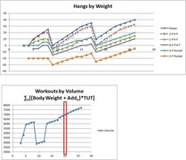Rock Climbing Photo: Hangboard workouts by weight and volume.