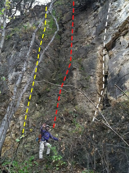 Rock Climbing Photo: T.L.C. (5.7) Yellow Diabolical Dihedral (5.6) Red ...