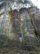 Rock Climbing Photo: Buzz Off (5.8) Yellow Shady Lane (5.5) Red Wise Cr...