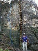 Rock Climbing Photo: Ominous Extension (5.9) Blue Decapitator (5.6) Ora...