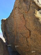 Rock Climbing Photo: Eyes Boulder West Face Topo