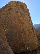 Rock Climbing Photo: Eyes Boulder West Face Topo