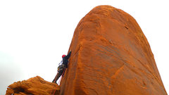 Rock Climbing Photo: Reaching for the first bolt on P2.