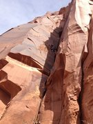 Rock Climbing Photo: Scotty Palmer leading P1 which ends in the chimney...