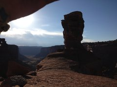 Rock Climbing Photo: The 100' summit tower from the saddle.  Looking do...