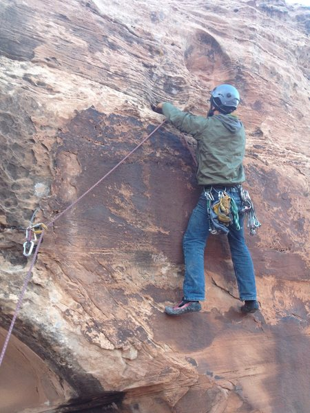 Rock Climbing Photo: Herb Crimp about to whip onto medium quality cams ...