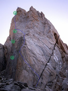 Rock Climbing Photo: St Exupery with Chiaro di Luna approximate route i...