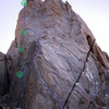 St Exupery with Chiaro di Luna approximate route in blue and approx rappel line in green