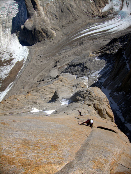 looking down the headwall