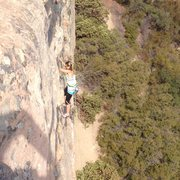 Rock Climbing Photo: Amanda Bradley top roping Route 6 Saddle Back Peak...