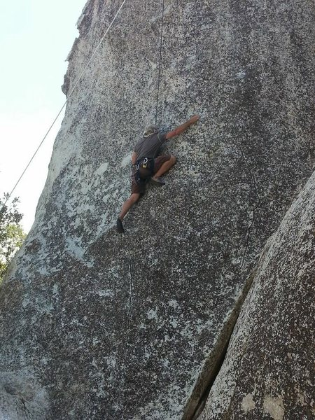 Chad Parker top roping Center Slab 5.10c/d Top Rope Wall at Horse Flats in Los Angeles Crest Forest, CA