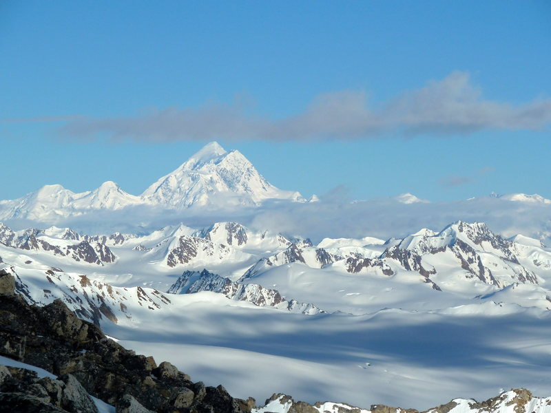 Northeast face Mount St. Elias with Jefferson Glacier and Bagley Icefield in the foreground