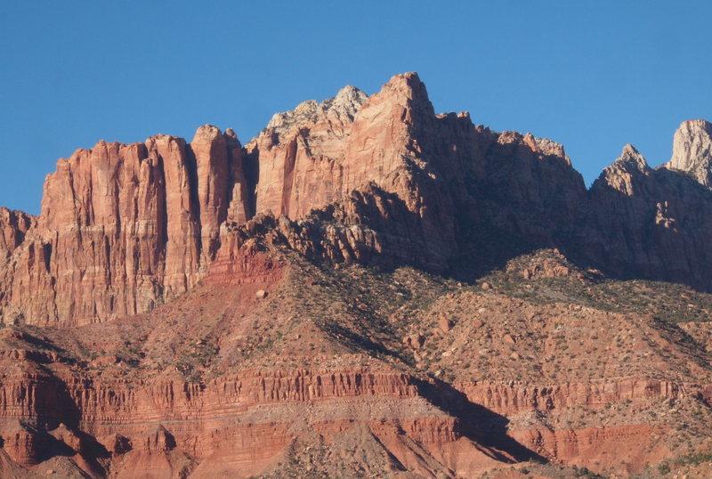 "Mount Kinesava and ""Cowboy Ridge"" (the obvious ridge on the light/shadow line)"