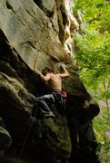 Rock Climbing Photo: Henry Robinson just before the crux of Undertow 5....