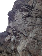 Rock Climbing Photo: The route is in the center.  You can see the 2 bol...