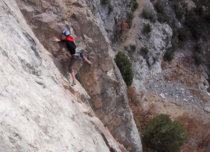 "Unknown climber leading ""Phantom Menace."""