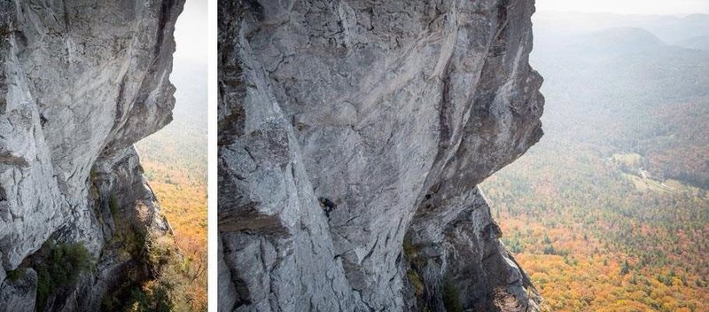 Rock Climbing Photo: Me on sighting Boulder problem in the Sky.