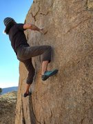 Rock Climbing Photo: Post crux moving up the wall to the top of the bou...