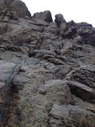 Rock Climbing Photo: The rope is on the route.  At the top, it is easie...