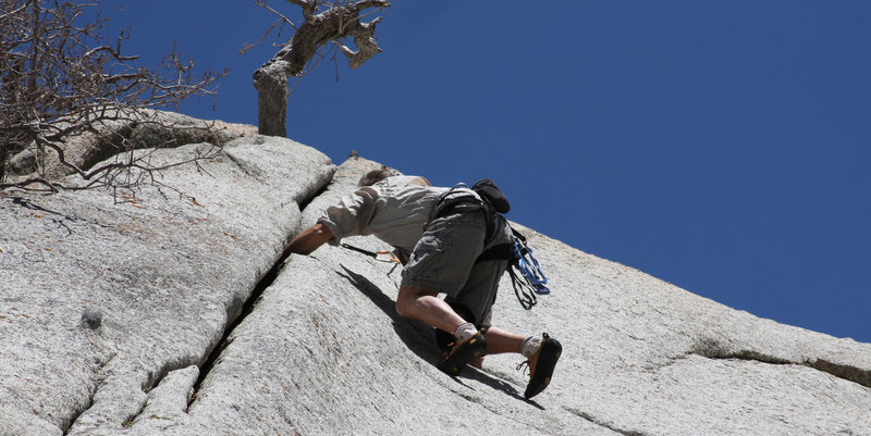 Rock Climbing Photo: Matt with a hand deep in the crack on Squeeze My L...