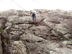 Rock Climbing Photo: getting lowered after leading Little Gem Diner