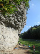 Rock Climbing Photo: The right side of Weissenstein, with climbers on D...