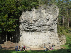 Rock Climbing Photo: The steep right side of Weissenstein.  The greenis...