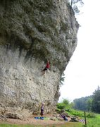 Rock Climbing Photo: Nearing the end of the fingery crux of Krampfhamme...