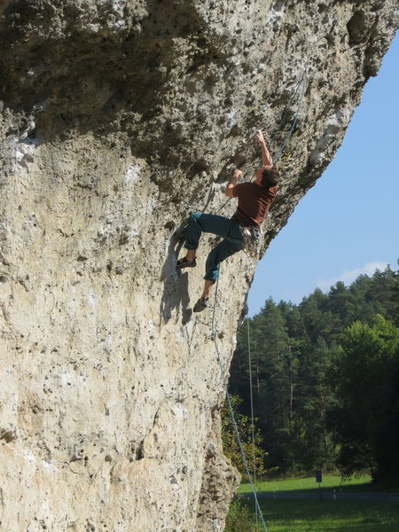Rock Climbing Photo: A local working out the sequential crux of Dampfha...