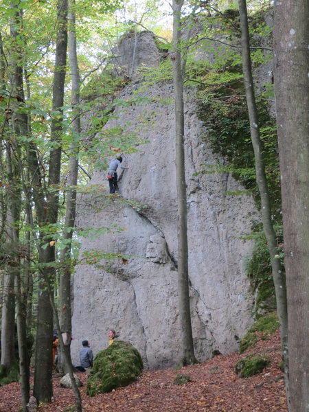 Rock Climbing Photo: A climber attempting Spatlese, a 6+ on the central...