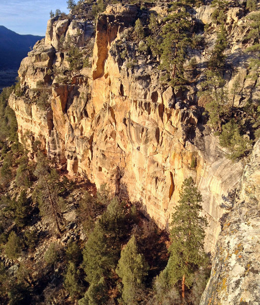 Rock Climbing Photo: Ben K. on The Corrections. Taken from top of Jailh...