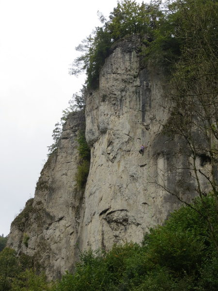 The central Roter Fels wall, with Kate on DNMDK