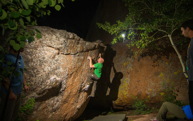 Mid-summer, night-time bouldering session. Perfect night.  <br> <br> Jake about to send.