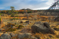 Rock Climbing Photo: Hiking out of the boulders after a chilly late fal...