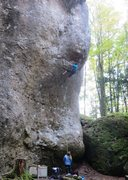 Rock Climbing Photo: Beginning the pumpy crux section of Hitch Hike the...