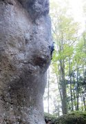 Rock Climbing Photo: Above the crux, working up the easier but pumpy he...