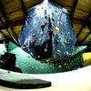Hanging boulder.