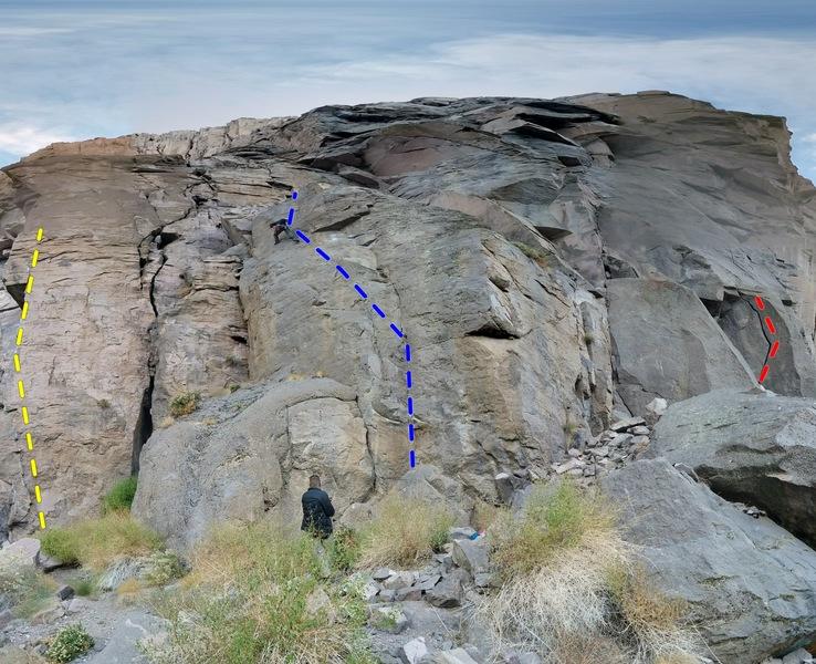 Rock Climbing Photo: Yellow: Chossman of the Desert Blue: Good Friday R...