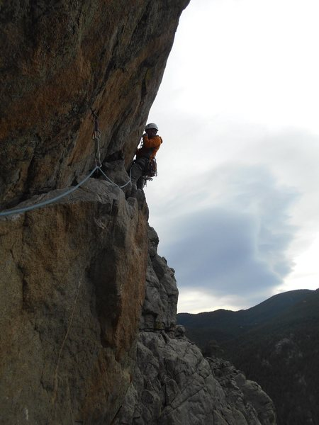 Kevin leading the 3rd pitch of Eagles. Great exposure immediately off the belay.