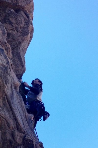 Rock Climbing Photo: Chad Parker Passing the crux on Ruthless Poodles -...