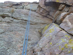 Rock Climbing Photo: The upper dihedral and the anchor.