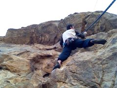Rock Climbing Photo: Chad Parker at the start of the roof on I Love LA