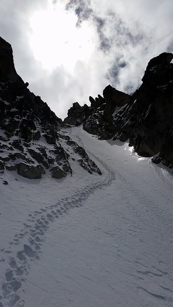 Dragontail stair-master on the top out of Triple Couloirs.