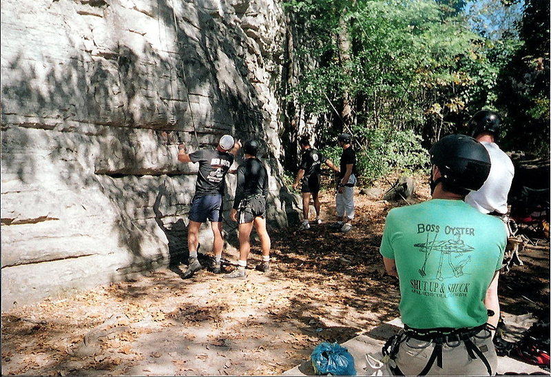 Climbing at Sand Rock in hiking boots.  Sept 2002.