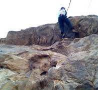 Rock Climbing Photo: I Love LA - 5.10a passing the roof. Can be lead or...