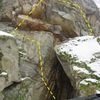 Sent this problem after working a different problem from the same start.  Original problem will exclude the boulder creating the right side of the cave in the picture.  After failing to complete that problem i decided to use the other wall which makes getting out of the cave much easier and this problem was born.   Other yet to be named problem will also top out after some serious cleaning as opposed to circling back down.