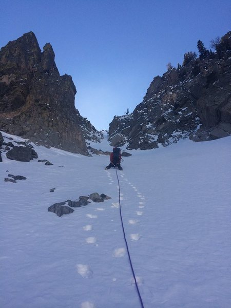 Rock Climbing Photo: Bottom of couloir first section.... We just simule...