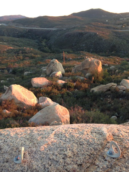 Picturesque view from atop Dos Equis Boulder.<br> This is a great spot to have your lunch!